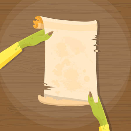 old letter: Zombie Hand Hold Ancient Manuscript Scroll Paper Copy Space Vector Illustration