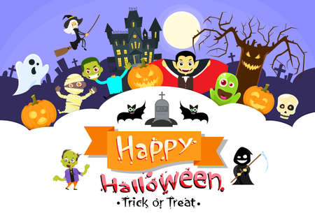 Happy Halloween Banner Monsters Flyer Collection Copy Space Poster Flat Vector Illustration
