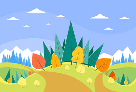 forest road: Autumn Landscape Mountain Forest Road Blue Cloud Sky With Sun Tree Woods Flat Design Vector Illustration Illustration