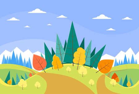Autumn Landscape Mountain Forest Road Blue Cloud Sky With Sun Tree Woods Flat Design Vector Illustration Illustration
