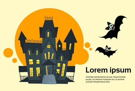 Halloween House Ghost Party Invitation Card Banner Flat Vector Illustration  イラスト・ベクター素材