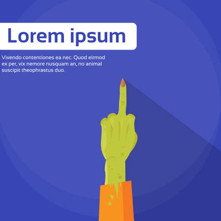 middle: Zombie Hand Point Middle Finger Up Gesture Flat Vector Illustration