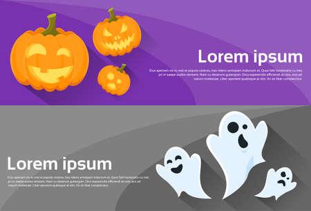 citrouille halloween: Esprit de visage de citrouille Cartoon Halloween Character Web Banner Set Flyer Flat Vector Illustration