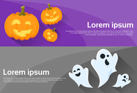 cartoon halloween: Ghost Pumpkin Face Cartoon Halloween Character Web Banner Set Flyer Flat Vector Illustration