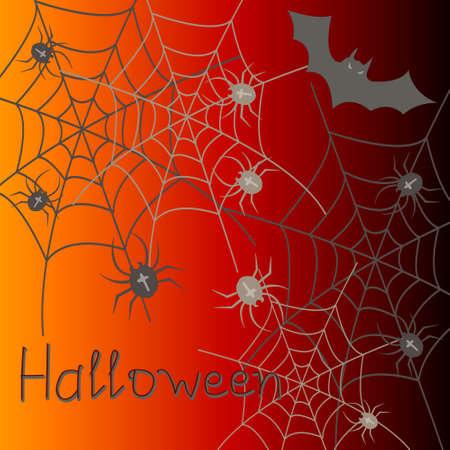 halloween spider: Halloween Spider Black Silhouette Web Banner Vector Illustration Illustration