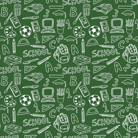 green board: Green Board School Seamless Pattern Hand Draw Chalk Education Tools Supplies Vector Illustration