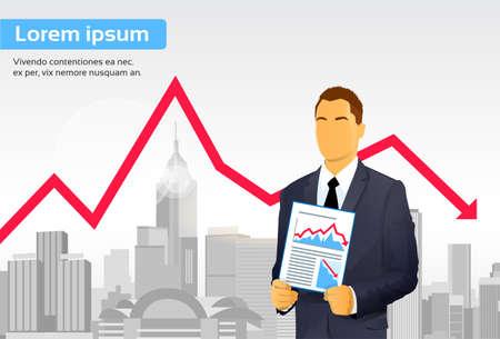 banking crisis: Businessman Finance Graph Crisis Red Arrow Down City Skyscraper Illustration
