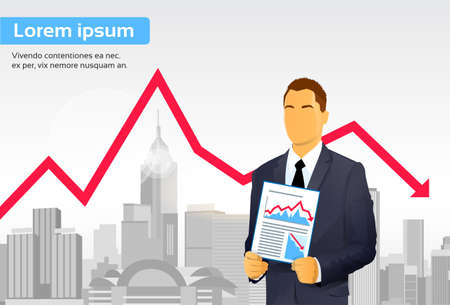 crisis economica: El hombre de negocios gráfico de las finanzas Crisis Red Arrow Down Ciudad del rascacielos Ilustración Vectores