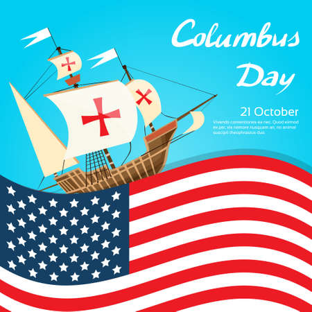 cristoforo colombo: Happy Day Columbus Nave vacanze poster Stati Uniti in America Bandiera piatto Illustrazione Vettoriali