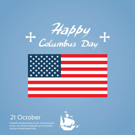 cristoforo colombo: Happy Day Columbus Nave vacanze Stati Uniti in America Bandiera piatto Illustrazione Vettoriali