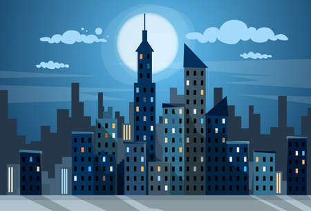 City Skyscraper Night View Cityscape Snow Skyline Flat Vector Illustration Иллюстрация
