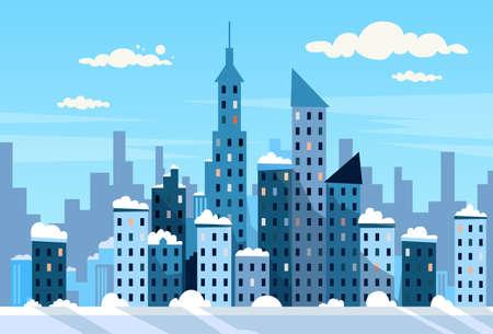 Ilustración Invierno Ciudad Rascacielos Vista del paisaje urbano de la nieve del horizonte de Vector