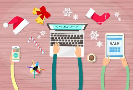 fiestas electronicas: Manos Hold Dispositivo Portátil Electrónica Gadget año nuevo concepto de teléfono ilustración de la tableta de regalo de Navidad Decoración plana vectorial