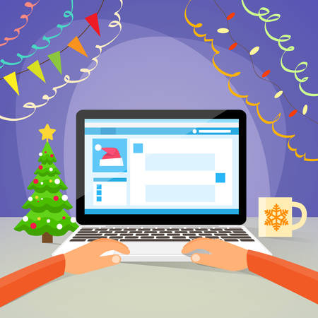 using computer: Laptop New Year Hands Type Using Computer Internet Christmas Sale Decoration Flat Vector Illustration