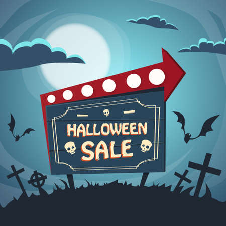 sale sign: Halloween Sale Promotional Sign Board Cemetery Flat Vector Illustration