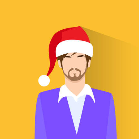 year profile: Profile Icon Male New Year Christmas Holiday Red Santa Hat Avatar Portrait Casual Person Silhouette Face Flat Design Vector Illustration