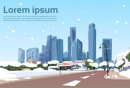 Winter Road to Modern City View Snow Skyscraper Cityscape Background with Copy Space Vector Illustration