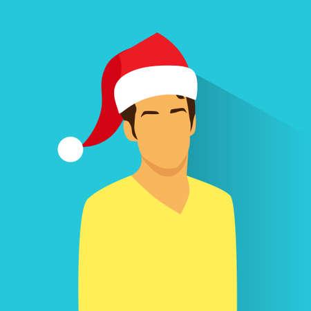 ispanico: Icona profilo maschio ispanico Capodanno Vacanze di Natale Cappello Rosso Santa Avatar Ritratto casuale Illustrazione persona silhouette volto piatto Vector Design Vettoriali