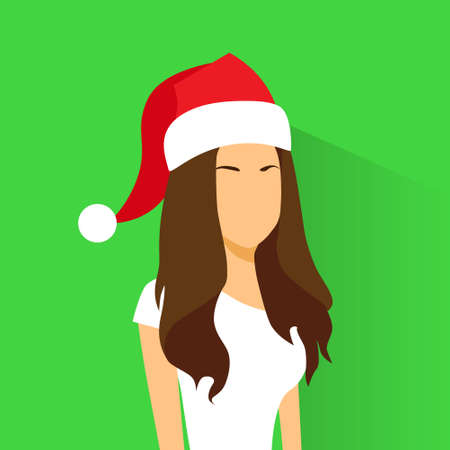 year profile: Profile Icon Female New Year Christmas Holiday Red Santa Hat Avatar Portrait Casual Person Silhouette Face Flat Design Vector Illustration Illustration