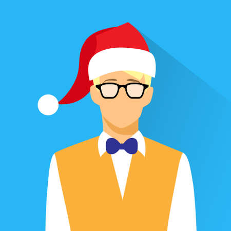 year profile: Businessman Profile Icon Nerd wear Glasses New Year Christmas Holiday Red Santa Hat Portrait Flat Design Vector Illustration