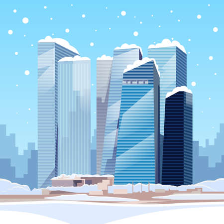 Winter City Skyscraper View Cityscape Snow Skyline Vector Illustration Illustration