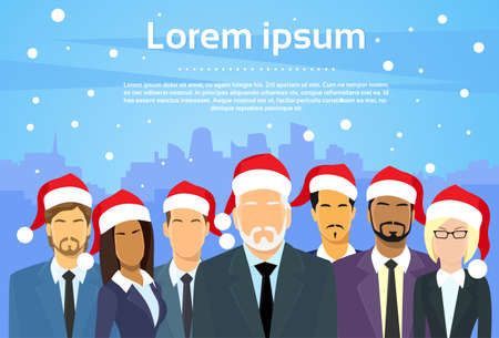woman business suit: Senior Businessmen Boss with Group of Business People New Year Christmas Hat Corporate Party Holiday Team Flat Vector Illustration