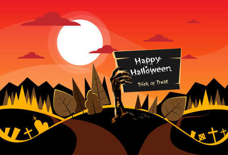 two way: Zombie Hand Hold Board, Orange Autumn Woods, Halloween Dead Arms From Ground Two Way Forest Road Path Vector Illustration Illustration