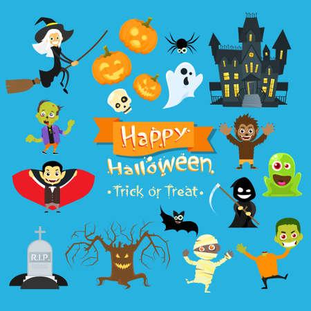 brujas caricatura: Los monstruos de Halloween Colecci�n Conjunto del zombi del vampiro Santo Muerte Parca Ilustraci�n del hombre lobo plana vectorial
