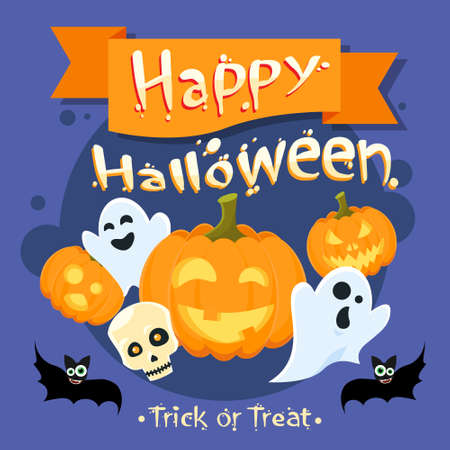 ghost character: Happy Halloween Banner Invitation Card Ghost Pumpkin Face Flat Vector Illustration Illustration