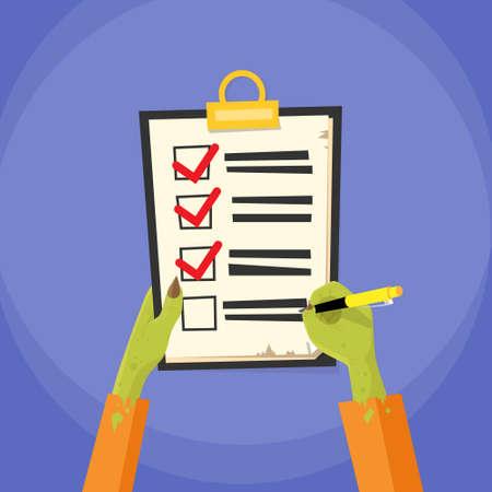 blank check: Manos del zombi Compruebe la ilustración en la Lista de deseos plana del papel del vector Vectores
