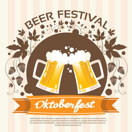 patric banner: Oktoberfest Festival Two Glass Mug Beer Poster Flat Vector Illustration