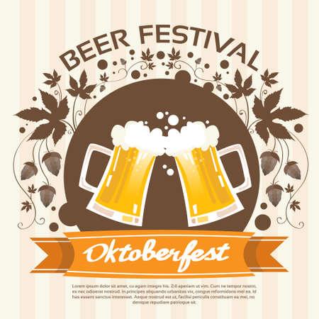 patric day: Oktoberfest Festival Two Glass Mug Beer Poster Flat Vector Illustration