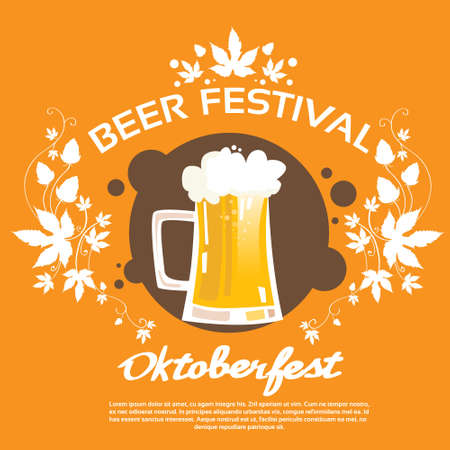 patric banner: Oktoberfest Festival Glass Mug Beer Poster Flat Vector Illustration Illustration