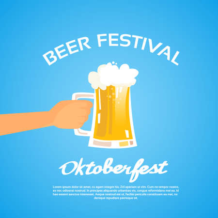 patric banner: Oktoberfest Festival Hand Hold Glass Mug Beer Flat Vector Illustration
