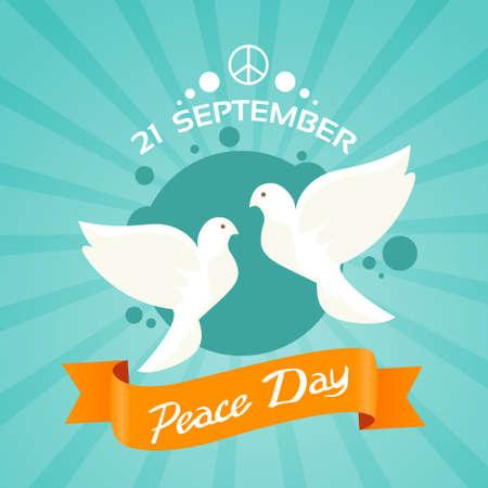 paloma de la paz: Ilustraci�n de dos d�as de la paloma de la paz de vacaciones p�ster plana vectorial Vectores
