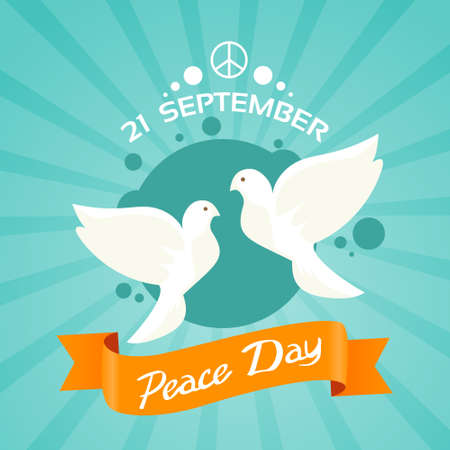 Two Dove Peace Day Holiday Poster Flat Vector Illustration Çizim