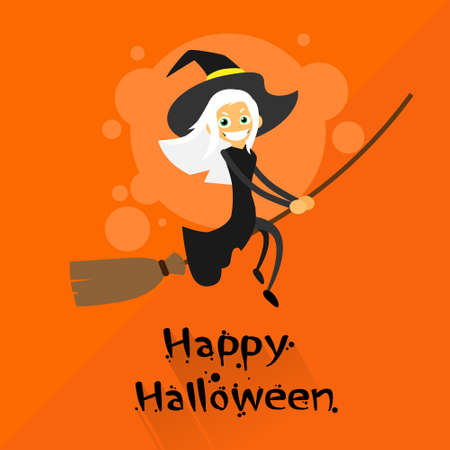 Witch Flying on Broom Halloween Costume Cartoon Character Flat Vector Illustration