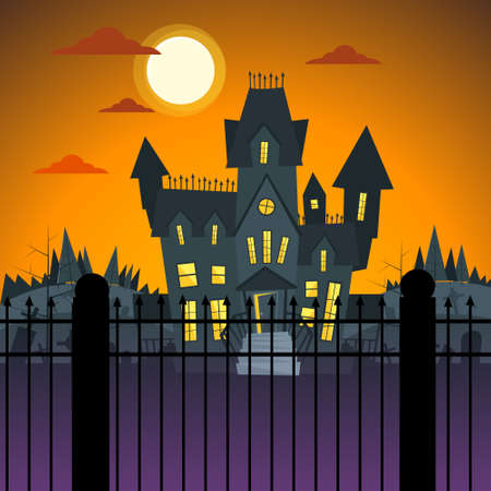 ghost house: Halloween House Ghost Party Invitation Card Flat Vector Illustration Illustration