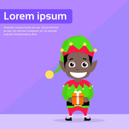 dark elf: Christmas African American Race Elf Cartoon Character Santa Helper Flat Vector Illustration