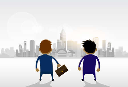 panorama view: Businessmen Standing Looking City View Panorama Concept Vector Illustration