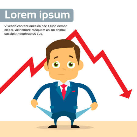 empty pocket: Businessman Show Empty Pocket Cry Financial Crisis Graph Fall Down Red Arrow Flat Vector Illustration Illustration