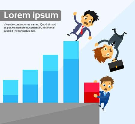 Businessmen Fall Down Financial Bar Chart Crisis Concept Flat Vector Illustration