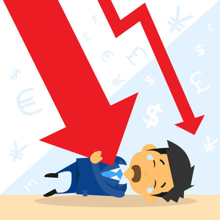 financial crisis: Businessman Fall Down Red Arrow Graph Financial Crisis Flat Vector Illustration