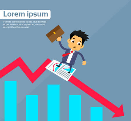 sliding: Businessman Sliding Down on Financial Chart Red Arrow Fall Crisis Concept Flat Vector Illustration Illustration