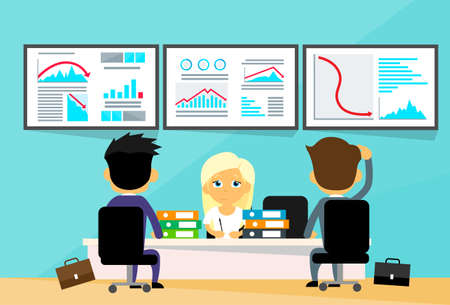financial adviser: Business People Office Desk Traders Financial Crisis Computers Finance Graph Fall Down Trend Negative Flat Vector Illustration Illustration