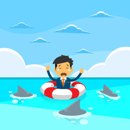 sea water: Businessman Sing Sea Water Lifebouy Sharks Around Concept Financial Crisis Flat Vector Illustration Illustration