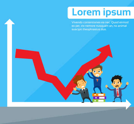 Business People Group Fall Down Red Arrow Graph Financial Crisis Flat Vector Illustration 向量圖像