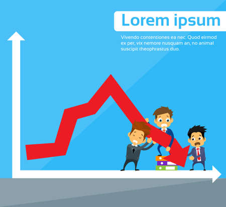 fall down: Business People Group Fall Down Red Arrow Graph Financial Crisis Flat Vector Illustration Illustration