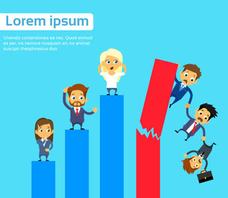 fall down: Business People Group Fall Down Financial Bar Chart Crisis Concept Flat Vector Illustration Illustration