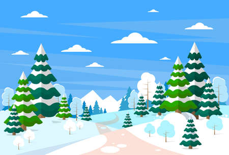 winter road: Winter Forest Landscape Christmas Background, Pine Snow Trees Woods Vector Illustration